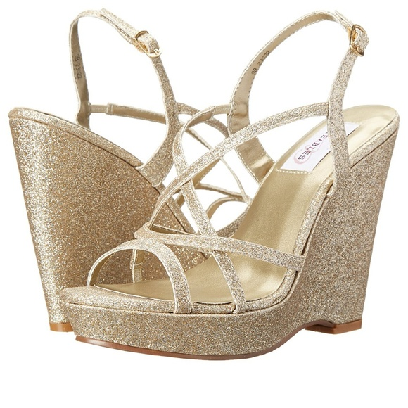 f12f08d2b2a Gold Wedges- Prom or Wedding Shoes!